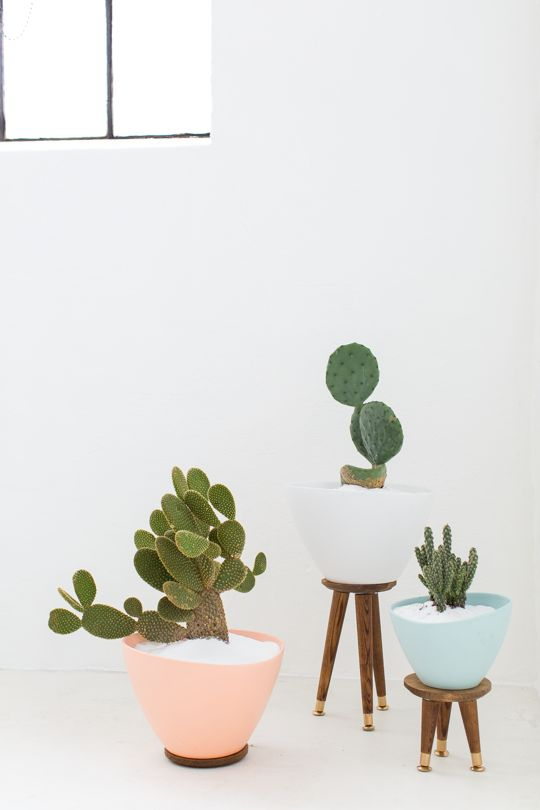 DIY mid century planters