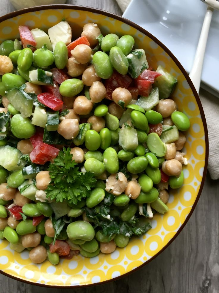 Edamame Chickpea Feta Salad with Lemon Tahini Dressing is a fresh, nutritious salad of edamame, chickpeas, feta, cucumber and red peppers topped with fresh parsley and a creamy lemon tahini dressing //A Cedar Spoon #AD #SoyInspired