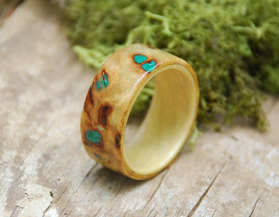 Mappa Burl Bentwood Ring with Maple Interior and Crushed Malachite Stone Inlay $150