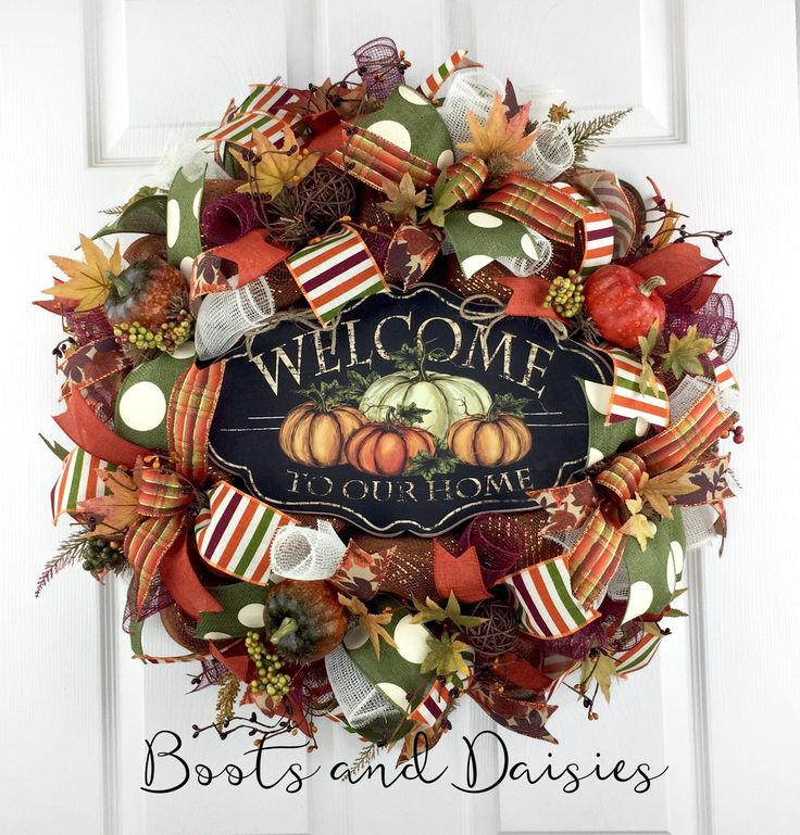 Fall Mesh Wreath door decor / Thanksgiving Mesh Wreath / Harvest Mesh Wreath / Welcome Wreath / Rustic Mesh Wreath / Pumpkin Wreath by BootsAndDaisiesDecor on Etsy