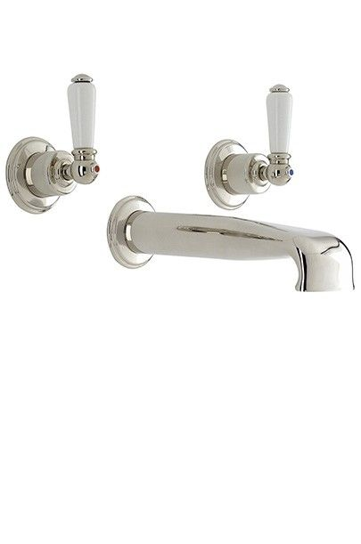 PERRIN & ROWE 3560 THREE HOLE WALL MOUNTED BASIN FILLER WITH LOW PROFILE SPOUT WITH LEVER HANDLES