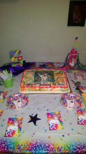 Daughters 9 th birthday cake table
