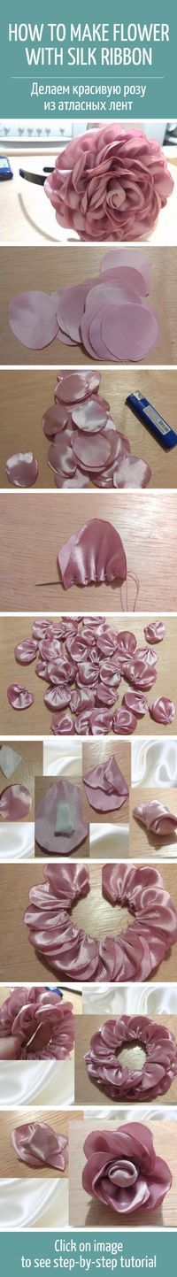 How to make flower with silk ribbon: tutorial #diy