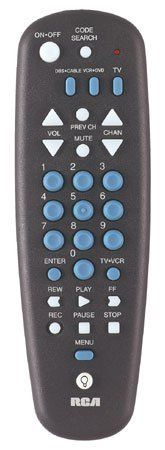 """Rca Systemlink 3 Universal Remote Control Preprogrammed With Batteries Partially Backlit by RCA. $13.89. Preprogrammed; 3-in-1 universal remote control.  Controls most brands of TV, VCR/DVD and DBS/Cable.  Menu support (select TVs, all DBS and DVD codes in library).  Code Saver.  Partially backlit.  Includes batteries.  Dimensions: 10.5"""" L x 3.8"""" W x 1.0"""" H.. Save 49%!"""