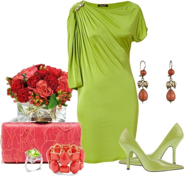 """Apple Green and Deep Coral"" by lisamoran on Polyvore"
