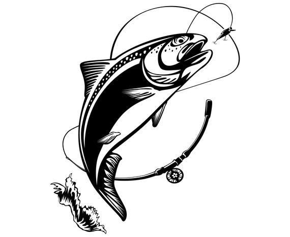 Fishing Rainbow Trout Fish Silhouette Svg Graphics