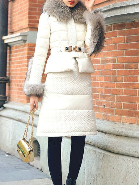 Paneled PU White Goose Feather Down Coat