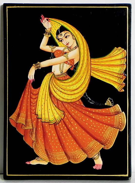 Dancing Beauty (Nirmal Paintings on Hardboard))