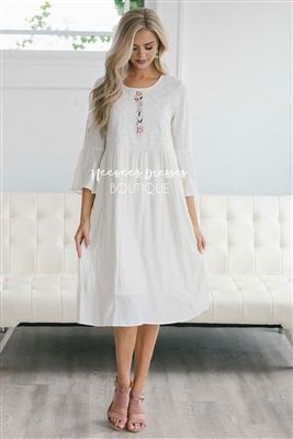 bd8c5d33058a White Embroidery Detail Cotton Sundress, Modest Dress Bridesmaids Dress,  Church Dresses, dresses for church, modest bridesmaids dresses, trendy  modest ...