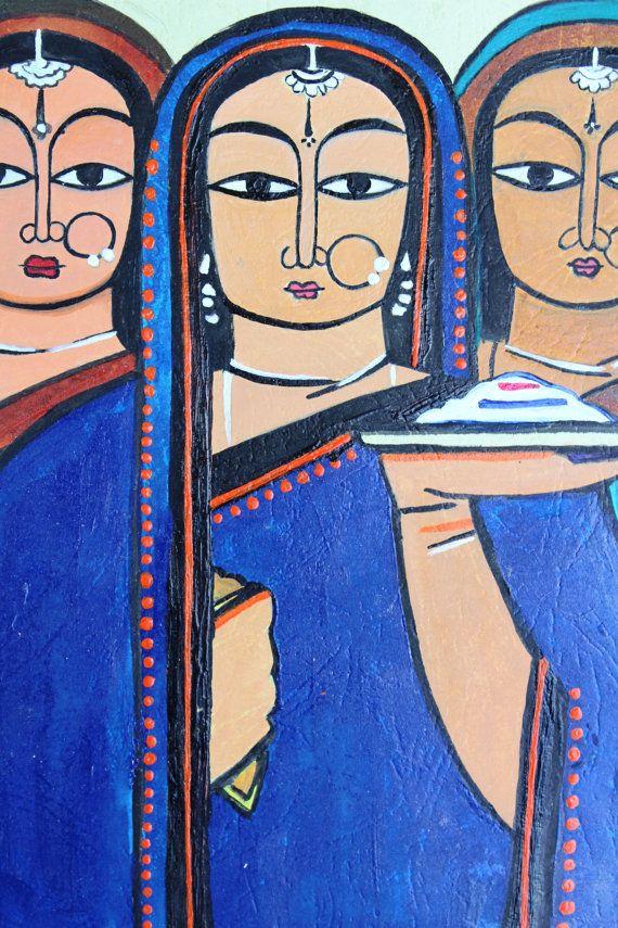 Three Indian traditional ladies acrylic handmade by PrettyArtful