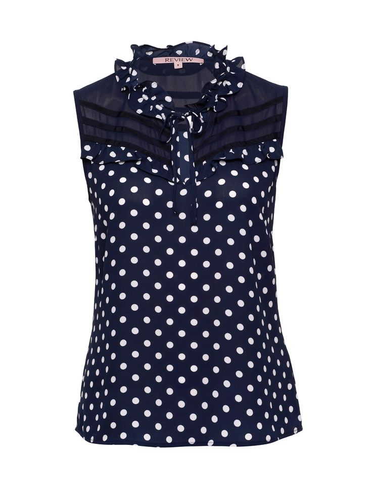 Connect the Dots Top   Navy & Cream   Polka Dots Blouse