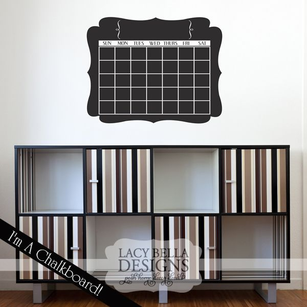 """Calendar chalkboard"" decal sticker sign. See more at www.lacybella.com"