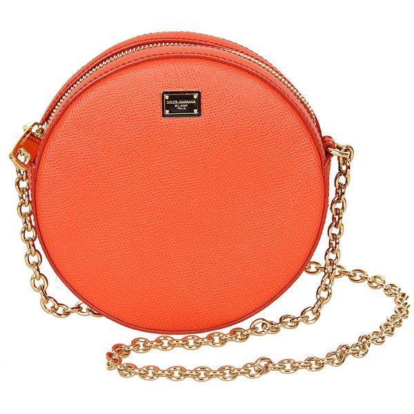 Dolce & Gabbana Orange Leather Round Shoulder Bag found on Polyvore