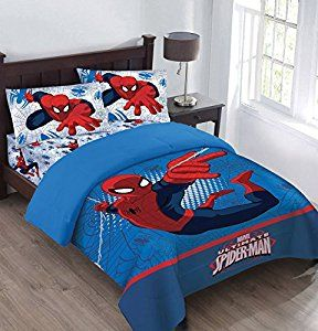Amazon.com: Marvel The Spiderman Webbed Wonder Twin Comforter Set with Fitted Sheet: Home & Kitchen