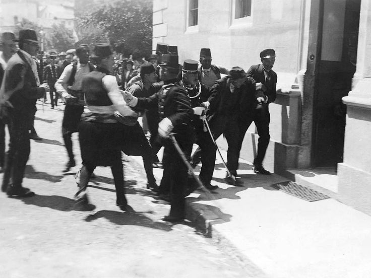 Gavrilo Princip being arrested in Sarajevo on June 28, 1914. Moments before, Serbian nationalist, Princip had assassinated Archduke Franz Ferdinand, heir to the Austro-Hungarian throne. This single act of anarchy set into motion the spark for world war (WWI), one of the most ghastly wars in human history.