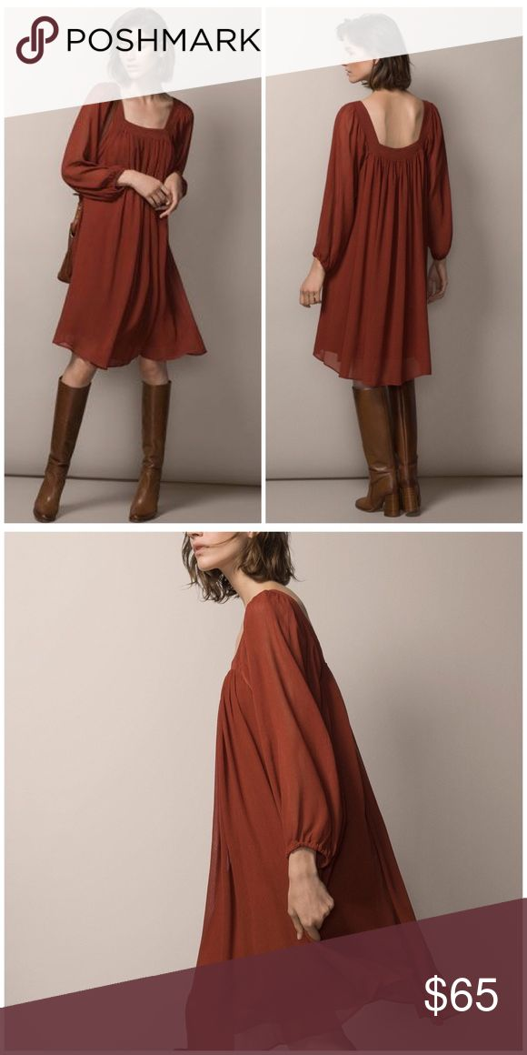 """NWT Massimo Dutti Terracotta Gauze Dress NWT Massimo Dutti Dress. Square neck. Long sleeve. Loose flowy fit. Lined except for the sleeves. Length 38"""". Chest 19"""". Sleeve length 23"""". Easily dressed up or down! Beautiful terra-cotta color. 100% polyester. Size medium. Massimo Dutti Dresses"""