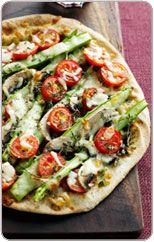 Asparagus, mushroom and tomato pizza