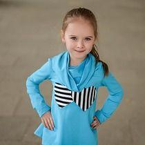 Bluza Dziewczęca Z Kominem Serduszka turkusowa, dziewczynka - moda - bluzy - dziewczynka