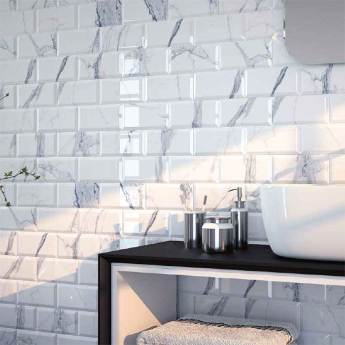 White 200x100 Carrara Marble Effect Tiles Walls And