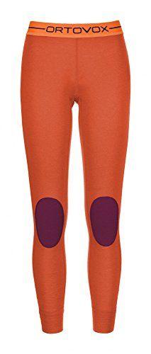 Atmungsaktive bequeme Damen Merino lange Unterhose. Color: Orange / Size: L – Abgedrehte Farben und moderne Designs des Rock'n'Wool Long Pants W von Ortovox machen die Merinoschafe lebendig! Rock'n'Wool hat Ortovox für alle entwickelt, die am Berg leben und dabei nicht auf Klimakomfort verzichten möchten. 100% reine Merinowolle in einer Stärke von 185 g/m² decken …