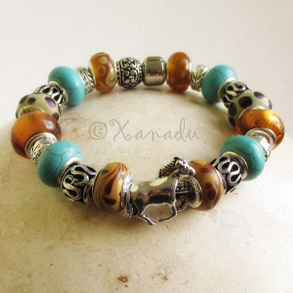 Turquoise And Amber Brown All The Pretty Horses European Charm Bracelet With Genuine Turquoise Gemstone Beads