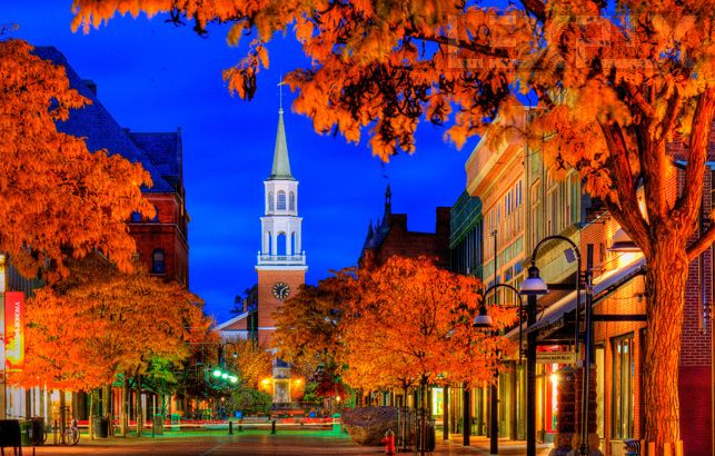fall autumn fall foliage Church Street marketplace, Burlington,  Vermont, USA