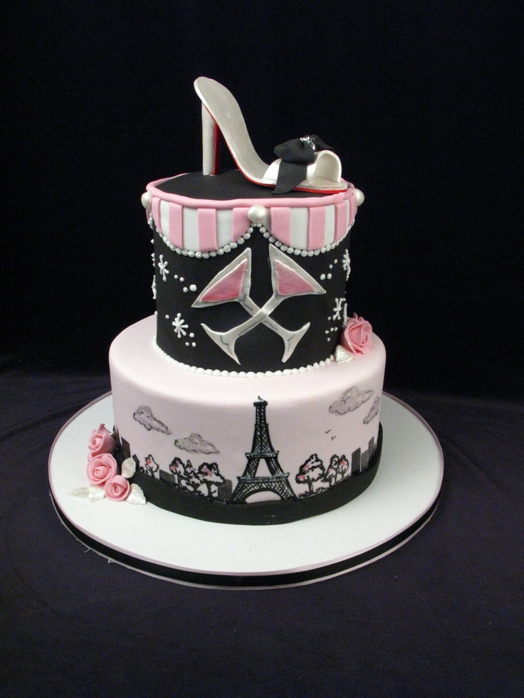 Birthday Cake Designs Shoes : paris, eiffel tower, custom cake, pink, black, high heel ...