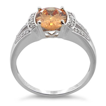 Sterling Silver Oval Channel Orange CZ Ring