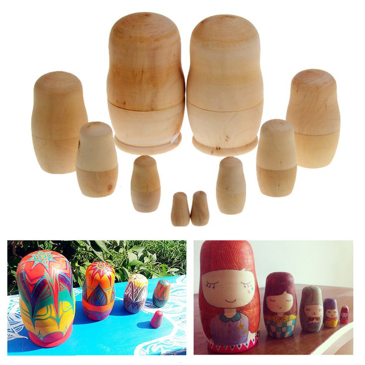 Wooden Embryos Russian Nesting Dolls Matryoshka Toy 5x Unpainted DIY Blank