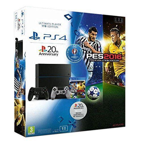 Console PlayStation 4 1 To Noir + PES Euro 2016 + Manette PS4 Dual Shock 4 - 20eme anniversaire