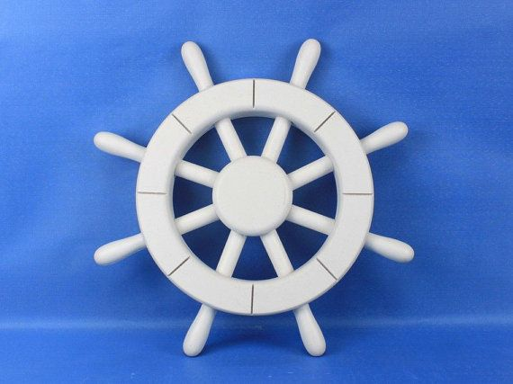 Painted Wooden Ship Wheels 12 Red Blue White by NauticalBeachDecor