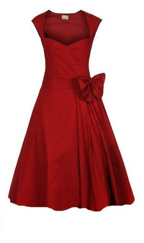 Raelynn Clothing: Red!     CLASSY VINTAGE 1950's ROCKABILLY STYLE RED BOW SWING PARTY EVENING DRESS: Amazon.co.uk: Clothing