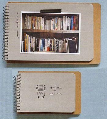 写真を貼っただけで、簡単にアルバムを作ることができます。紙の台紙には、コメントやイラストを添えることもできますね。