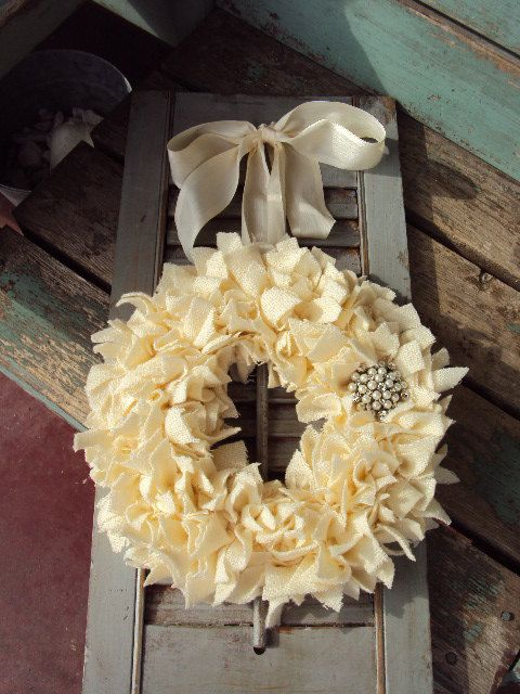 Romantic Shabby Chic Wreath Vintage Fabric  by primitivepincushion, $38.99