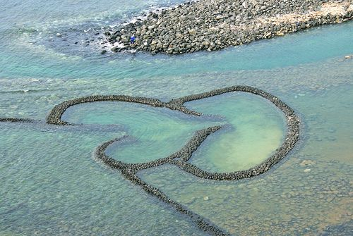 Heart Shaped Fishing Weir, Qimei, Taiwan