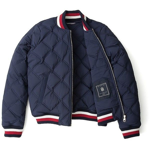 Tommy Hilfiger Stretch Quilted Bomber ($190) ❤ liked on Polyvore featuring outerwear, jackets, zip jacket, lightweight bomber jacket, tailored jacket, cotton zip jacket and quilted bomber jackets