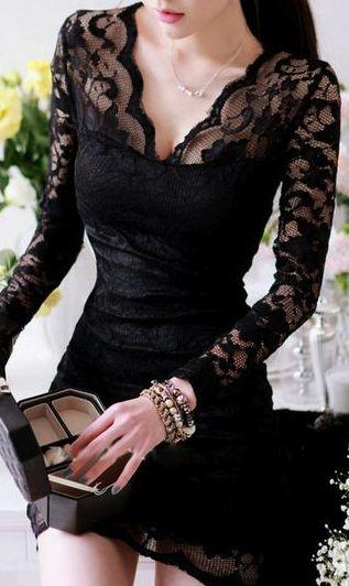 Sexy V Neck Black Lace Dress