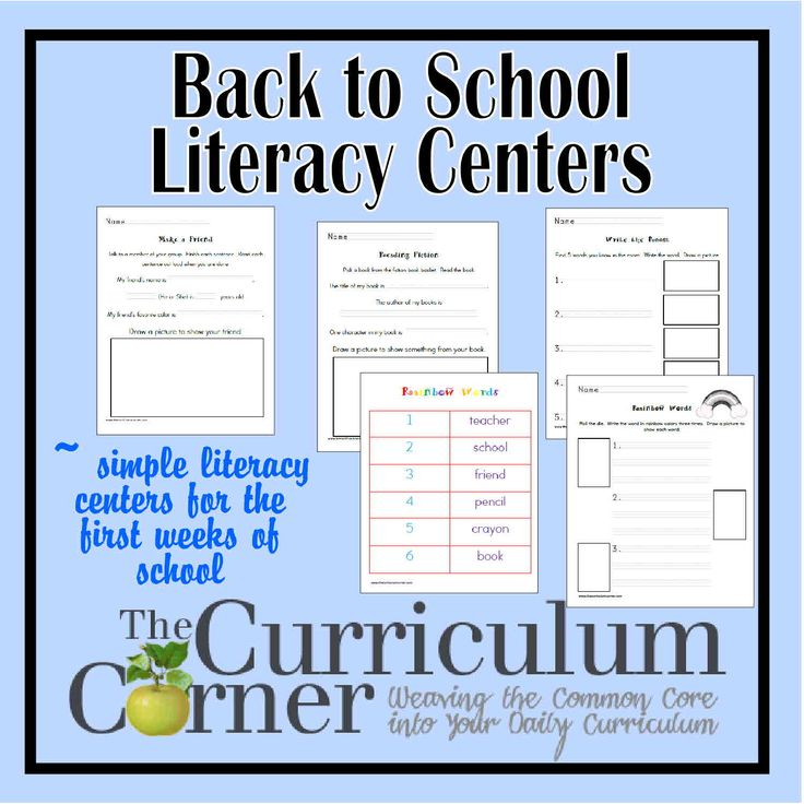 Back to School Literacy Centers - an assortment of ready to go small group centers for your kindergarten, first or second grade classroom.  Free from www.thecurriculumcorner.com.