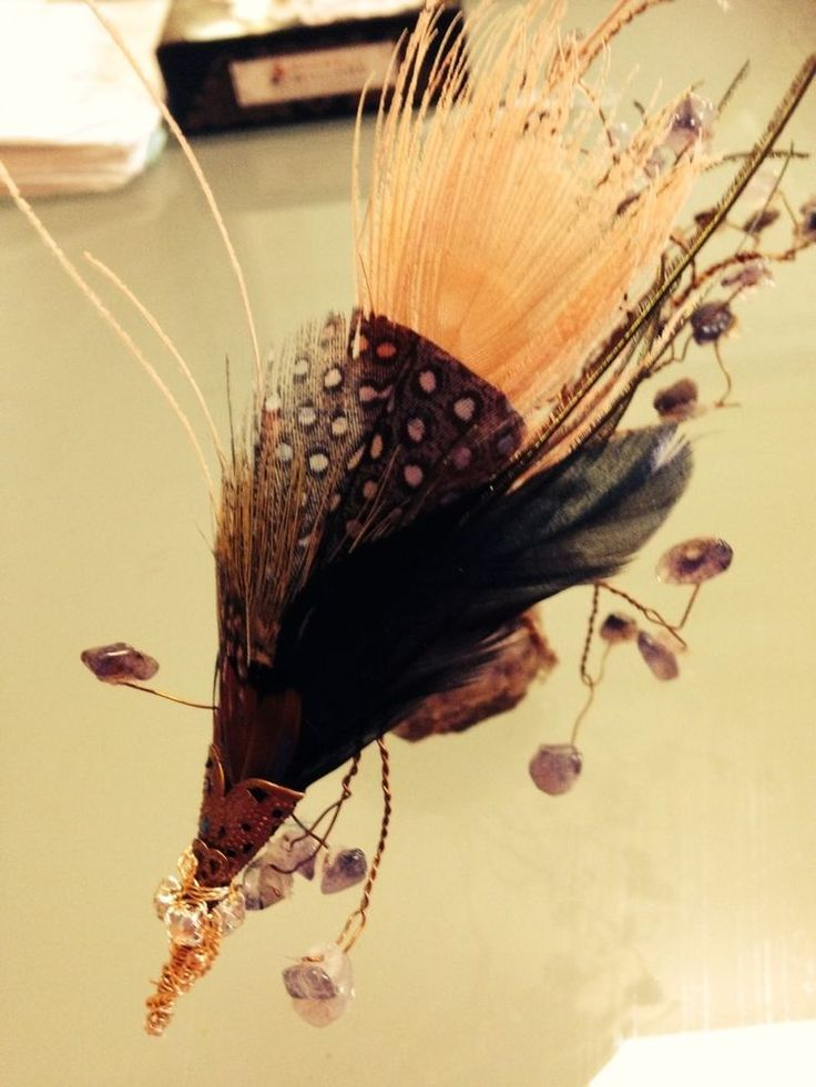 Wedding Matching Boutonniers for male and females alike. 2 X Pheasant Feather Pink Peacock hat pin brooch Fascinator
