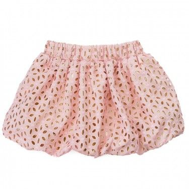 little miss galia eyelet balloon skirt.  poufy short skirt in pink eyelet lace with a shimmering gold lame underlay. lined to lend maximum volume to a great balloon shape.