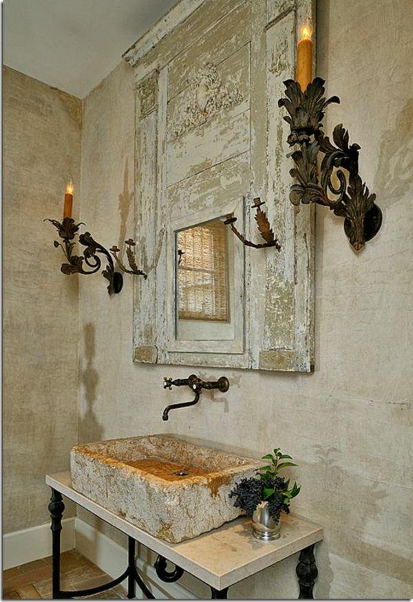 vasque en pierre, évier rectangulaire, salle de bains rustique