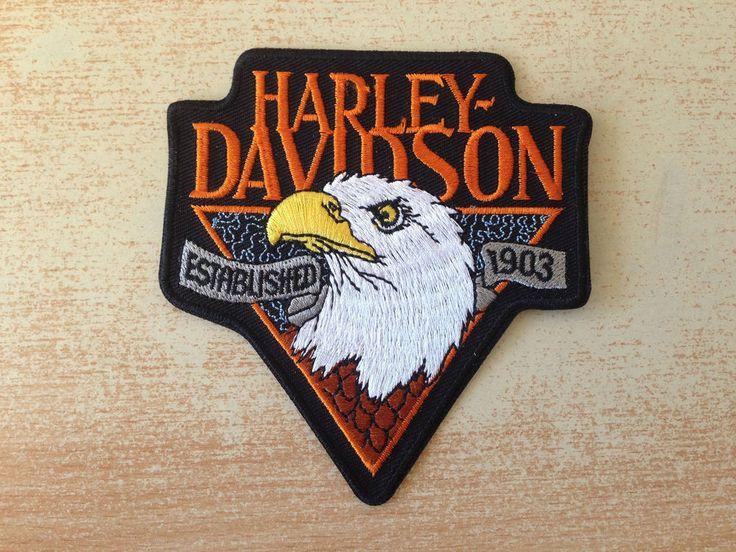 écusson harley davidson motor cycles tête d aigle eagle head 10x9 cm
