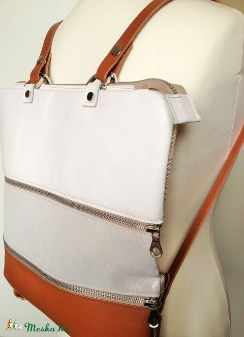 Zip-Up 3 részből álló bőr-textil táska, Táska, Hátizsák, Laptoptáska, Válltáska, oldaltáska, Meska