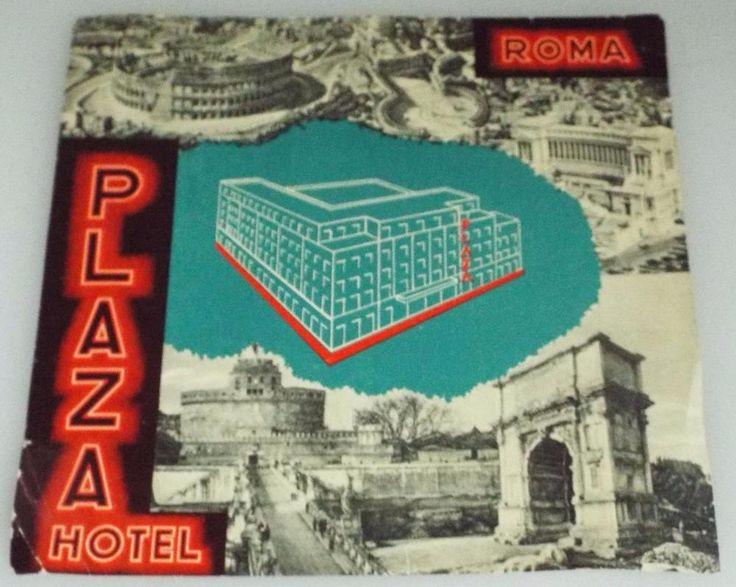 Plaza Hotel - Rome - Vintage Hotel Luggage Label