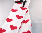 $8.5 valentines day gift  leg warmer for baby girl and toddler girl picture prop winter socks hearts shape white with hot pink hearts