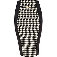 Black dogtooth panel print pencil skirt