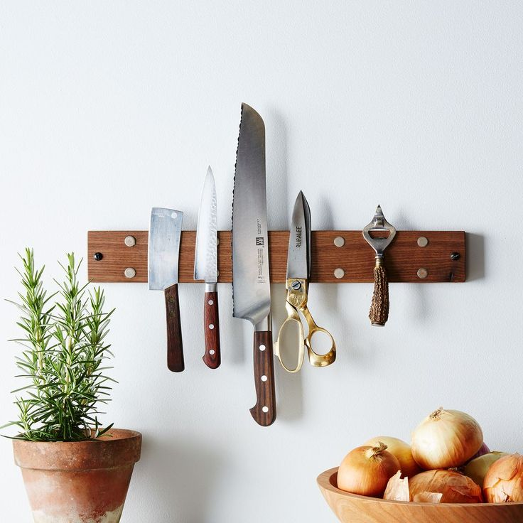 Reclaimed Knife Grabber - this is visually far more palatable than the traditional knife block.