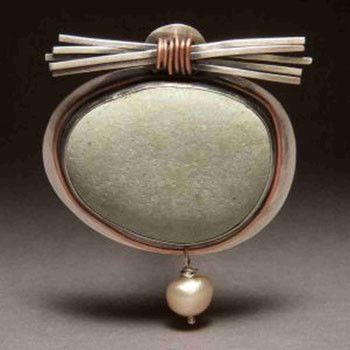Sweetheart Gallery: Artistic, Artisan, Designer, Handmade Home & Personal Accessories - JL Walsh Metalsmith Jewelry Pin Sterling Silver Bezel Set Light River Stone Brooch with Silver Stick Zen Bundle and Pearl Dangle br02-003