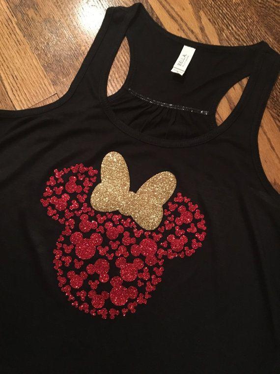 Minnie Mouse Head with 100 Mickey's Tank Top! Womens, Disney Tank, Flowy Racerback Tank, Disney shirt, Glitter, family disney shirts