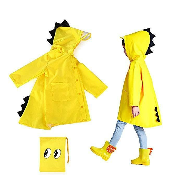 JinBei Boys and Girls Raincoat Hooded Dinosaur Printed Puddle Suit Lightweight Waterproof Poncho to Knee Raincoat Portable Breathable PVC Zipper Button Hiking Unisex 2-10 Years Old